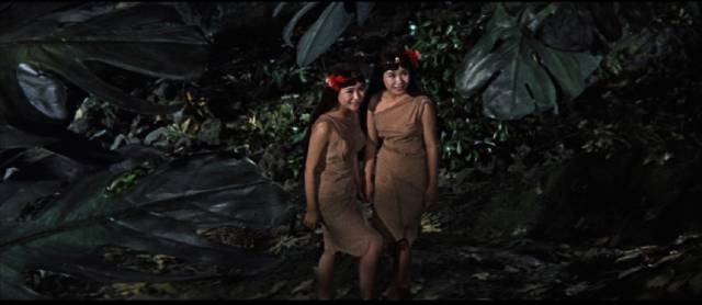 The twin fairies (Emi and Yumi Ito) who have a special bond with the giant moth in Ishiro Honda's Mothra (1961)