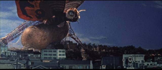 Mothra hatches out in the ruins of Tokyo in Ishiro Honda's Mothra (1961)