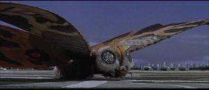 Mothra arrives to pick up the twin fairies in Ishiro Honda's Mothra (1961)