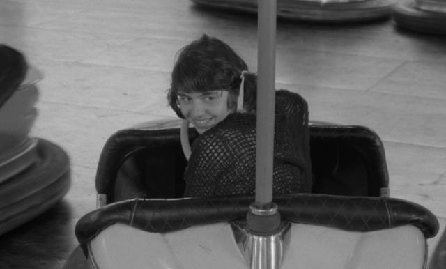 Mouchette (Nadine Nortier) has a rare moment of uncomplicated pleasure in Robert Bresson's Mouchette (1967)