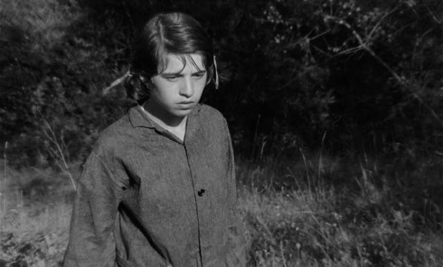 Mouchette (Nadine Nordier) watches a wounded animal die in Robert Bresson's Mouchette (1967)