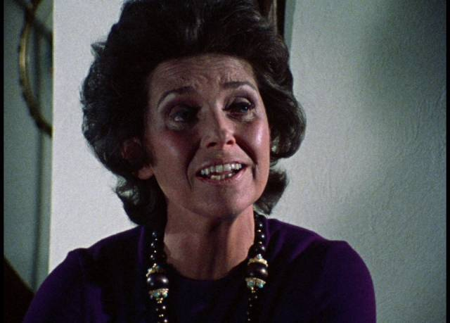 A friend introduces Joan to the neighbourhood witch (Virginia Greenwald) in George A. Romero's Season of the Witch (1972)
