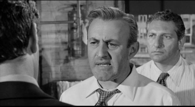 Walter Mitchell (Lee J. Cobb) refuses to hear evidence about his own complicity in violence in Robert Aldrich/Vincent Sherman's The Garment Jungle (1957)