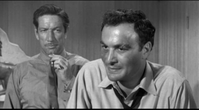 Union organizer Tulio Renata (Robert Loggia) stands up to goon Artie Ravidge (Richard Boone) in Robert Aldrich/Vincent Sherman's The Garment Jungle (1957)