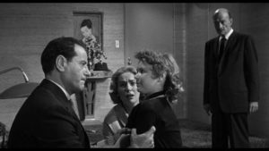 Killers Dancer (Eli Wallach) and Julian (Robert Keith), looking for smuggled drugs, terrorize a mother and daughter in Don Siegel's The Lineup (1958)