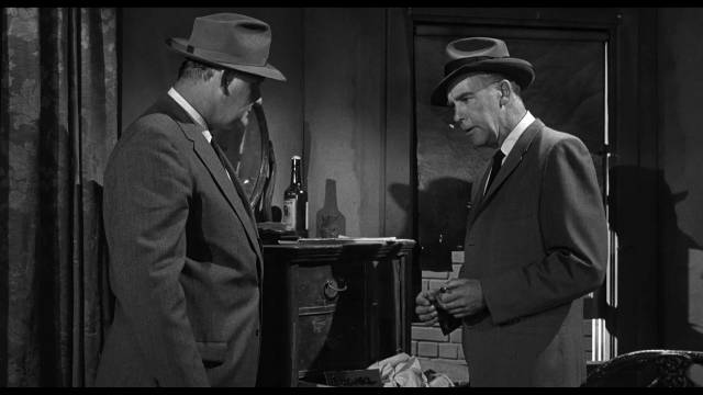 San Francisco cops Al Quine (Emile Meyer) and Fred Asher (Marshall Reed) discover a drug smuggling operation in Don Siegel's The Lineup (1958)