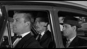 Sandy McLain (Richard Jaeckel) drives killers Julian (Robert Keith) and Dancer (Eli Wallach) around San Francisco in Don Siegel's The Lineup (1958)