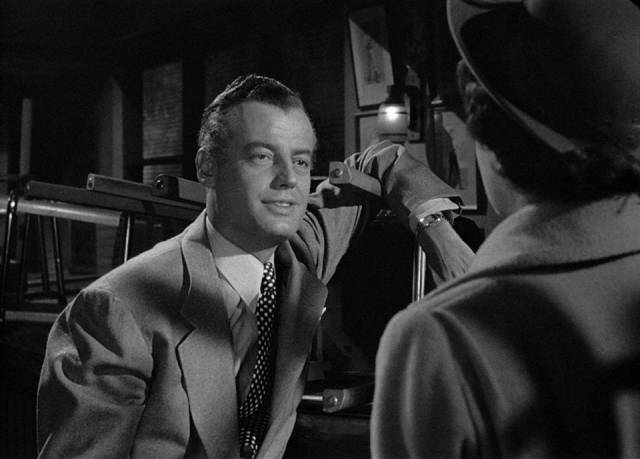 Lucia Harper (Joan Bennett) confronts Ted Darby (Sheppard Strudwick) about his affair with her underage daughter in Max Ophuls' The Reckless Moment (1949)