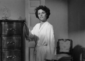 Lucia (Joan Bennett)'s daughter Bea (Geraldine Brooks) insists she's old enough to do what she wants in Max Ophuls' The Reckless Moment (1949)