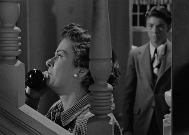 Lucia (Joan Bennett) has preserved her family, but in the end she knows she's trapped by her circumstances in Max Ophuls' The Reckless Moment (1949)