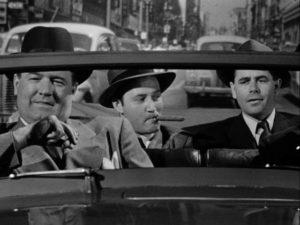 Frank Warren is taken for a ride by mob lawyer Edward J. O'Rourke (Barry Kelley) in Joseph H. Lewis' The Undercover Man (1949)