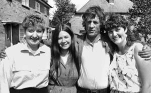 Director Michael Apted with Jackie, Lynn and Sue during production of 28 Up (1984)
