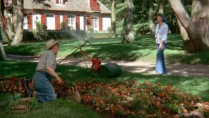 The Bishop (Julien Bertheau) offers his services as gardener - at union rates - in Luis Bunuel's The Discreet Charm of the Bourgeoisie (1972)