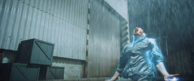Sancaka (Abimana Aryasatya) needs rain to activate his superpowers in Joko Anwar's Gundala (2019)