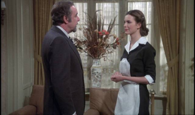 Mathieu (Fernando Rey) meets his new inexperienced maid (Barbara Bouquet) in Luis Bunuel's That Obscure Object of Desire (1977)