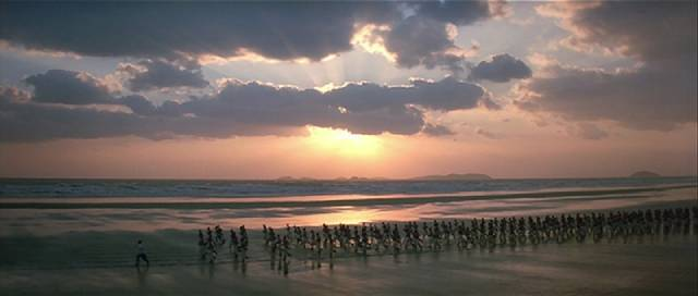 Tsui Hark's Once Upon a Time in China trilogy (1991-92) is framed with repeated shots of a martial arts army training by the sea