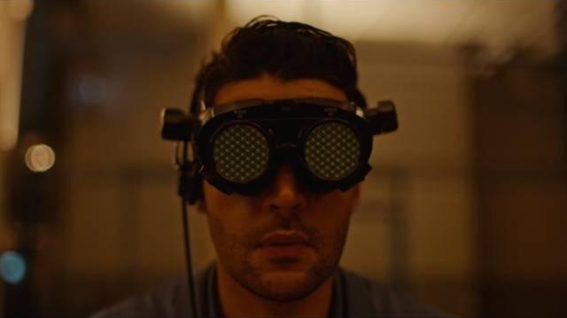 Colin Tate (Christopher Abbott) works on a virtual assembly line in Brandon Cronenberg's Possessor (2019)