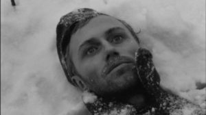 Sotnikov (Boris Plotnikov) is ready to accept his own death in Larisa Shepitko's The Ascent (1977)