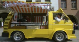 Jackie Chan and Yuen Biao run a food truck in Barceloa in Sammo Hung's Wheels on Meals (1984)