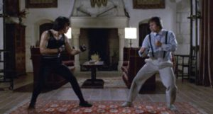 Jackie Chan kicks the villain's butt in Sammo Hung's Wheels on Meals (1984)
