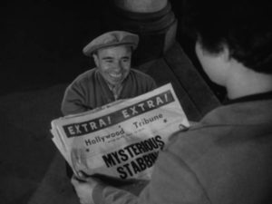 A newspaper foreshadows what will happen later in the evening in John Parker's Dementia (1953)