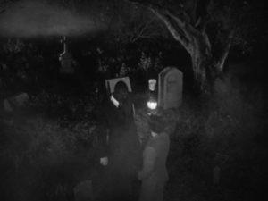 In a dream/flashback a faceless phantom shows the Gamin (Adrienne Barrett) her past in John Parker's Dementia (1953)