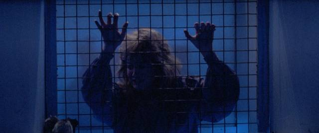 Dr. Joan Gilmore (Belinda Montgomery) is pursued by a mad killer in Simon Nuchtern's Silent Madness (1984)