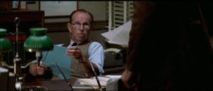 Editor Bill Rintels (Hume Cronyn) doesn't buy the conspiracy in Alan J. Pakula's The Parallax View (1974)
