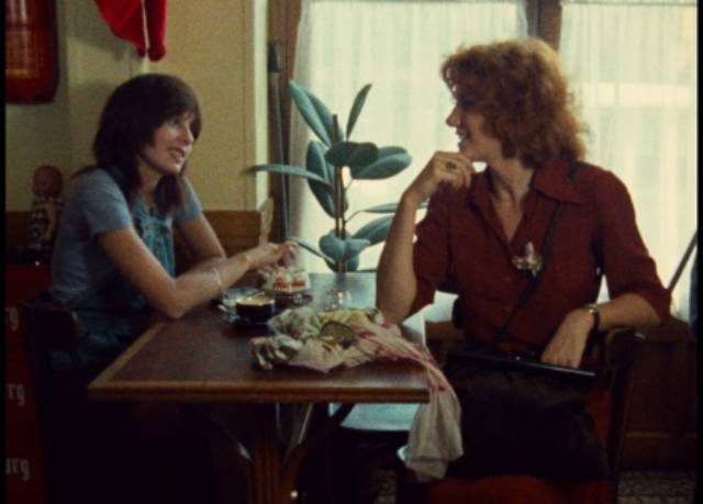 Celine (Juliet Berto) and Julie (Dominique Labourier) finally meet and begin a friendship in Jacques Rivette's Celine and Julie Go Boating (1974)