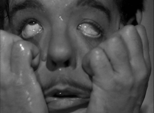 Artist Dave Stuart (Chaney) accidentally puts acid in his eyes in Reginald Le Borg's Dead Man's Eyes (1944)
