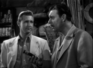 Chemist Jeff Carter (Chaney) discovers he's been betrayed by his boss in John Hoffman's Strange Confession (1945)