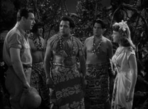 Norman Reed (Chaney) meets Paula (Anne Gwynne) at a sacred native ceremony in Reginald Le Borg's Weird Woman (1943)