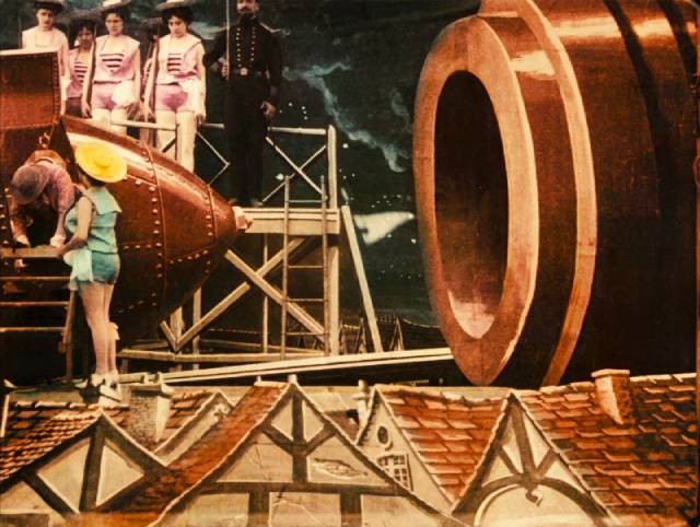 Scientists prepare to be shot at the moon in Georges Méliès's A Trip to the Moon (1902)