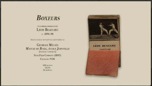 Boxeurs (1896-98), one of Georges Méliès's films rediscovered in flipbooks