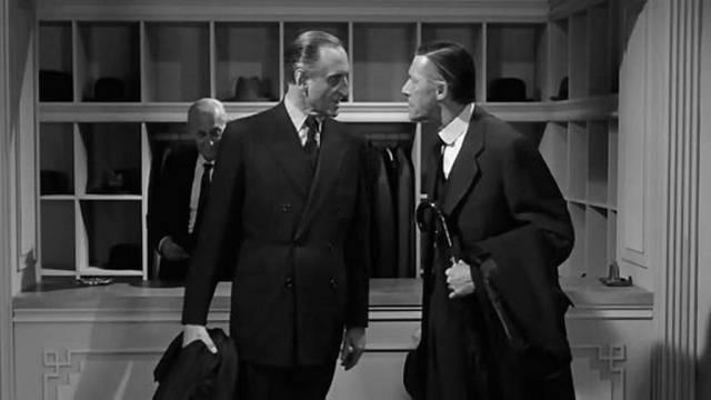 WASP patriarchs Norman Cass (Basil Rathbone) and Amos Force (John Carradine) despise the populist Frank Skeffington (Spencer Tracy) in John Ford's The Last Hurrah (1958)