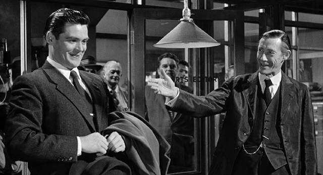 The patriarchs support Kevin McCluskey (Charles B. Fitzsimons), a vacuous puppet, in opposition to Frank Skeffington (Spencer Tracy) in John Ford's The Last Hurrah (1958)