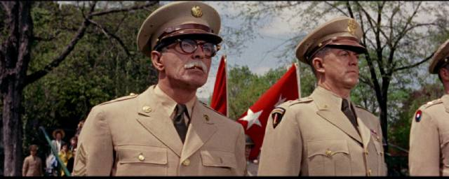 Marty Maher (Tyrone Power) watches the cadets parade in his honour in John Ford's The Long Gray Line (1955)