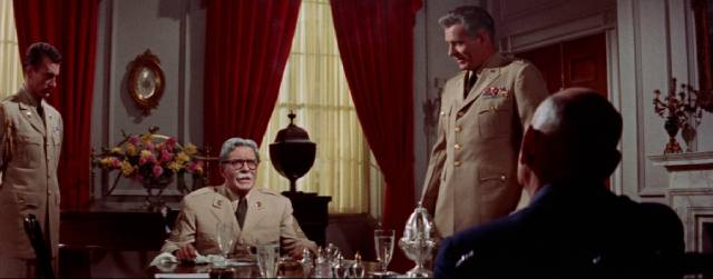 An aging Marty Maher (Tyrone Power) has lunch with the President in John Ford's The Long Gray Line (1955)
