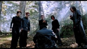 Yakuza bring their victims to a cursed forest in Ryûhei Kitamura's Versus (2000)