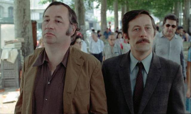 An unexpected empathy connects Michel Descombes (Philippe Noiret) with Commissaire Guilboud (Jean Rochefort) in Bertrand Tavernier's The Watchmaker of St. Paul (1974)