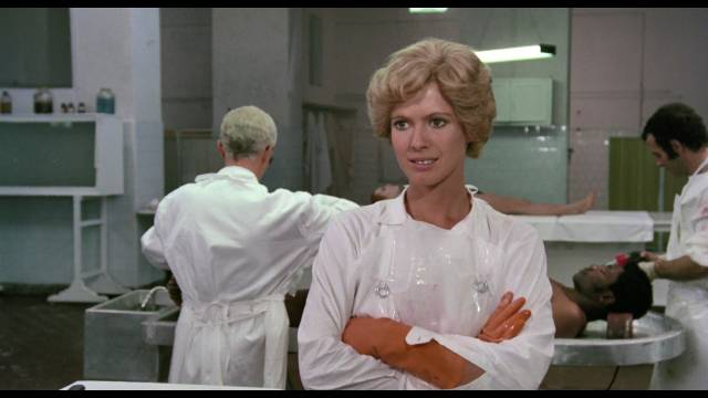 Pathology intern Simona Sanna (Mimsy Farmer) as at home in the morgue in Armando Crispino's Autopsy (1975)