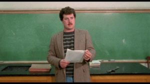 Parapsychology Prof. Stephen Hughes (Gilio Gherardini) offers extra credit for a field trip in Jack Snyder's Fatal Exam (1990)