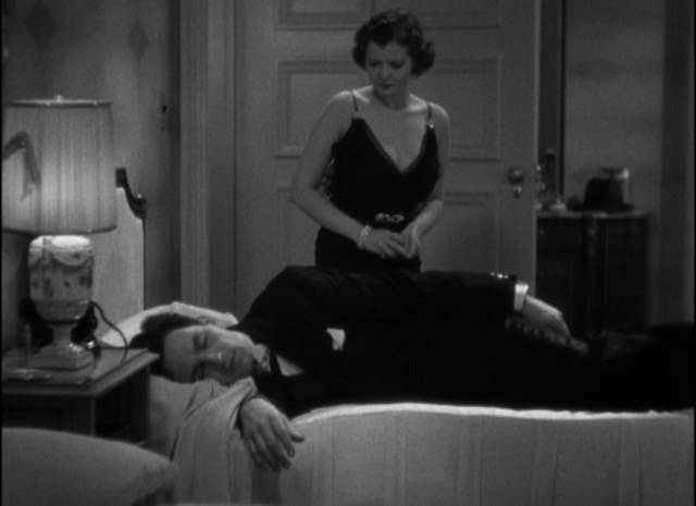 Jerry (Frederic March) uses his alcoholism to shut Joan (Sylvia Sidney) out of his emotional life in Dorothy Arzner's Merrily We Go to Hell (1932)