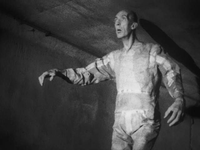 The monstrous astronaut disappears into Chicago's sewers in Bill Rebane and Herschell Gordon Lewis's Monster a Go-Go (1965)