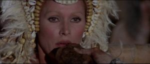 Susan Stevenson (Ursula Andress) is honoured by a remote tribe in Sergio Martino's Slave of the Cannibal God (1978)