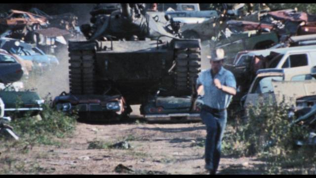 The would-be thieves commandeer a tank for some climactic havoc in Bill Rebane's Twister's Revenge (1988)