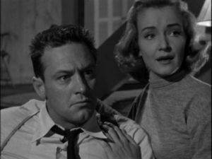 Killer Al Walker (William Holden) distrusts his hostage's attempt to analyze him in Rudolph Maté's The Dark Past (1948)