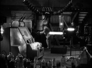 Prof. Billings (Boris Karloff) tries to create super soldiers in his basement lab in Lew Landers' The Boogie Man Will Get You (1942)