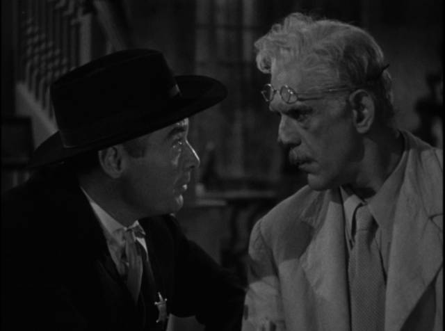 Prof. Nathaniel Billings (Karloff) makes a deal with Dr. Arthur Lorentz (Peter Lorre) in Lew Landers' The Boogie Man Will Get You (1942)