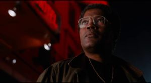 Detective Taft (Clarence Williams III) takes an interest in Russell (Laurence Fishburne) in Bill Duke's Deep Cover (1992)